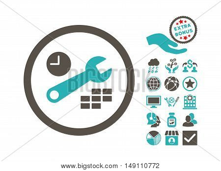 Date and Time Configuration icon with bonus pictogram. Vector illustration style is flat iconic bicolor symbols grey and cyan colors white background.