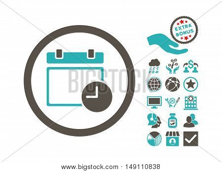 Date and Time icon with bonus pictogram. Vector illustration style is flat iconic bicolor symbols grey and cyan colors white background.