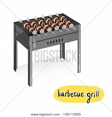 Grilled meat kebab with vegetable overcoals on barbecue grill isolated on white background vector illustration