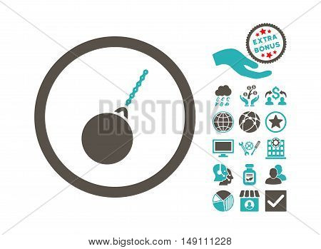 Destruction Hammer pictograph with bonus design elements. Vector illustration style is flat iconic bicolor symbols grey and cyan colors white background.