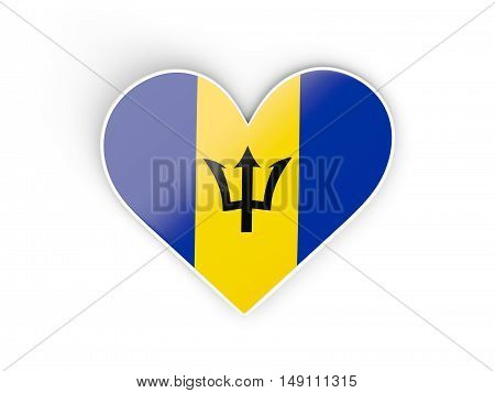 Flag Of Barbados, Heart Shaped Sticker
