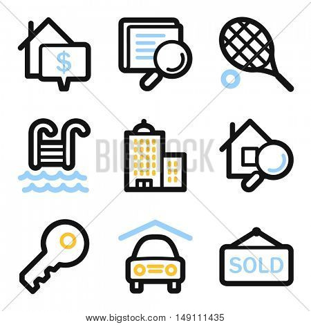 Real estate mobile icons, infographics symbols.