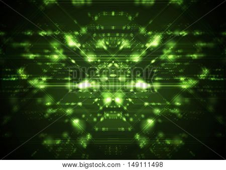 Abstract green shiny cyberspace tech background. Vector neon future design, motion effect