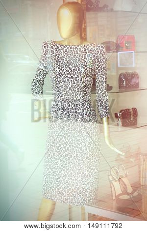 Fashion store showcase with mannequin