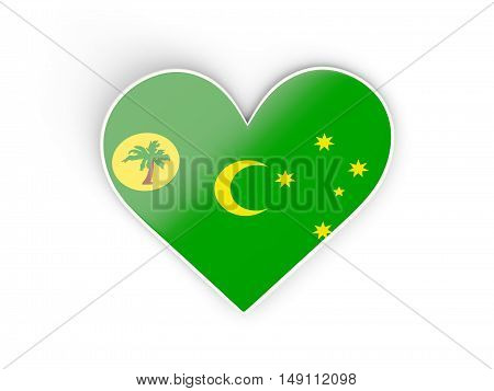 Flag Of Cocos Islands, Heart Shaped Sticker