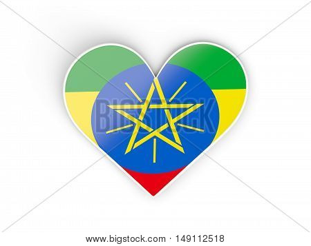 Flag Of Ethiopia, Heart Shaped Sticker
