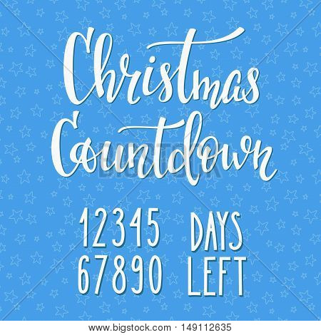 Merry Christmas Countdown Happy New Year simple lettering set. Calligraphy postcard or poster graphic design lettering element. Hand written postcard design. Photo overlay Winter Holidays sign detail