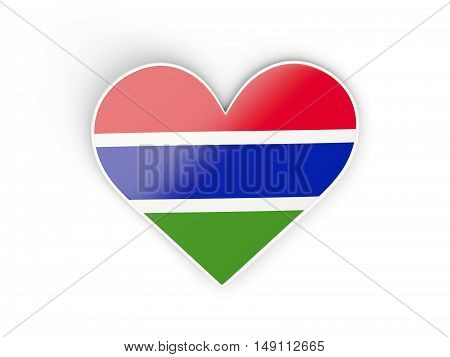 Flag Of Gambia, Heart Shaped Sticker