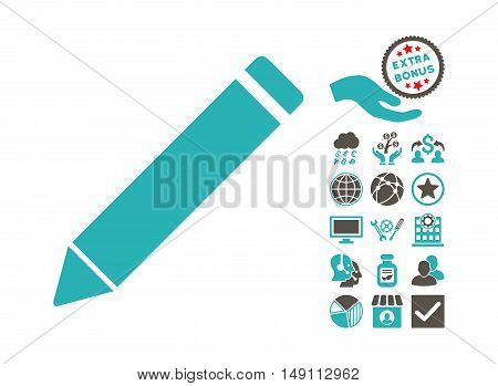 Edit Pencil pictograph with bonus pictures. Vector illustration style is flat iconic bicolor symbols grey and cyan colors white background.