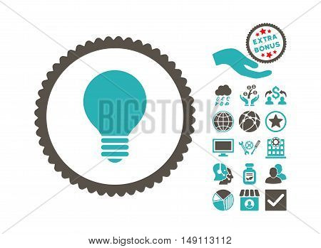 Electric Bulb pictograph with bonus symbols. Vector illustration style is flat iconic bicolor symbols grey and cyan colors white background.