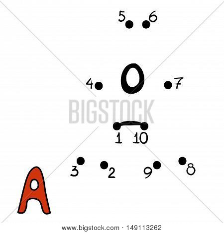 Numbers game for children, education dot to dot game, Letter  A