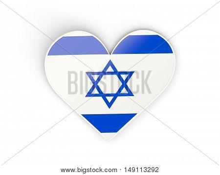 Flag Of Israel, Heart Shaped Sticker