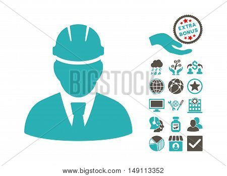 Engineer icon with bonus elements. Vector illustration style is flat iconic bicolor symbols grey and cyan colors white background.