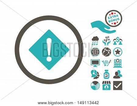 Error icon with bonus pictogram. Vector illustration style is flat iconic bicolor symbols grey and cyan colors white background.