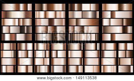 Set of metal gradients in bronze colors
