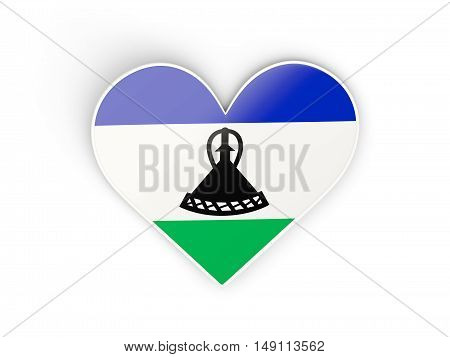 Flag Of Lesotho, Heart Shaped Sticker