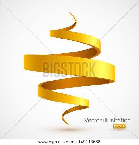 Yellow spiral ribbon. Vector illustration Eps 10