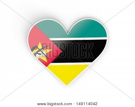 Flag Of Mozambique, Heart Shaped Sticker