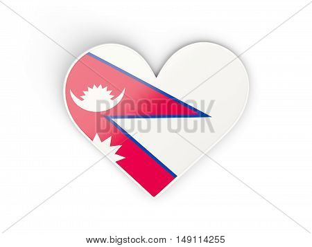 Flag Of Nepal, Heart Shaped Sticker