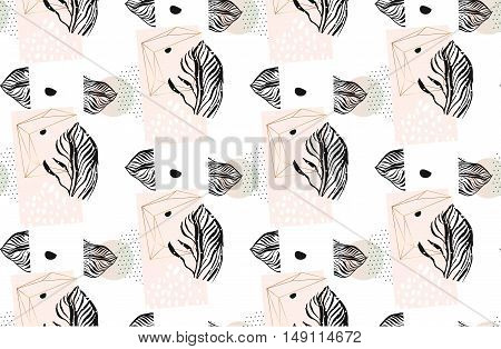 Hand drawn vector abstract exotic artistic textured minimalism seamless pattern with tropical graphic palm leaves and polka dot texture in pastel colors isolated on white background.