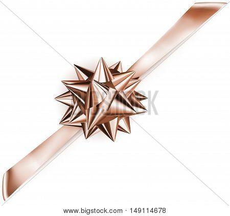 Shiny Bow With Diagonally Ribbon