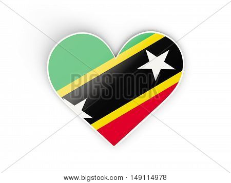 Flag Of Saint Kitts And Nevis, Heart Shaped Sticker
