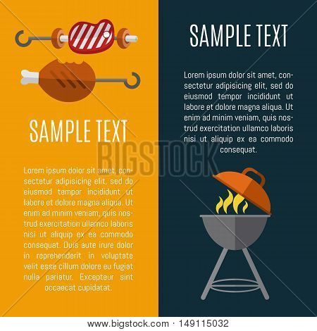 Barbecue grill vector illustrations. Charcoal kettle grill with fire. Skewers of grilled steak, mushrooms and chicken. BBQ party vertical banner, flyer, promo restaurant poster with space for text.