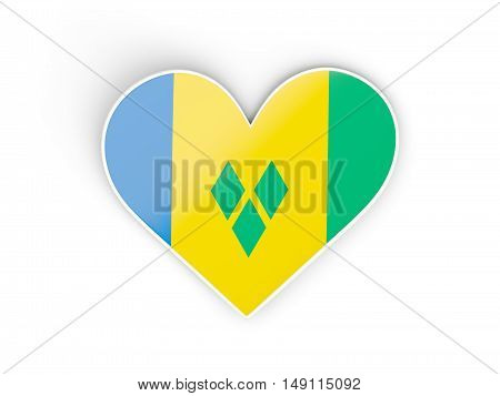 Flag Of Saint Vincent And The Grenadines, Heart Shaped Sticker