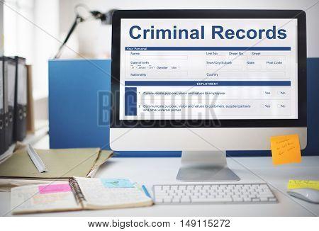 Criminal Records Insurance Form Graphic Concept