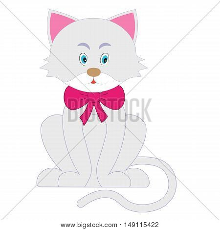 Illustration of Cute funny cat wearing a red collar with