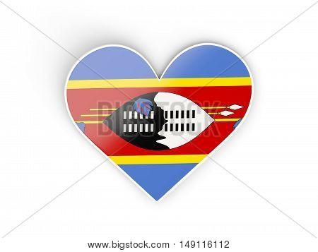 Flag Of Swaziland, Heart Shaped Sticker