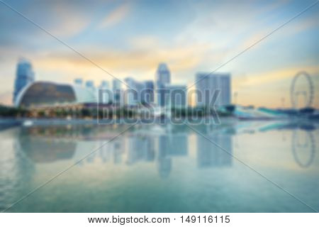 Singapore blurred background of central quay evening panorama from Jubilee bridge
