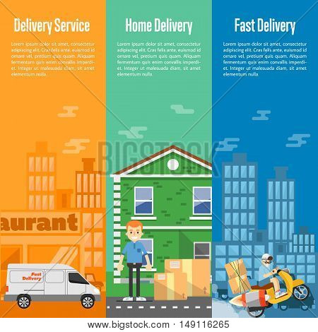 Delivery boy on scooter with cardboard boxes, postman with parcels near house, white delivery truck on cityscape. Food and home delivery service vertical banners, vector illustration