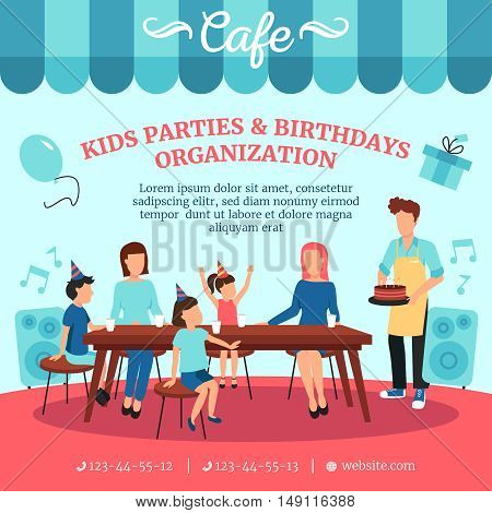 Healthy food for kids birthday parties with special treats cafe restaurant catering advertisement poster flat vector illustration