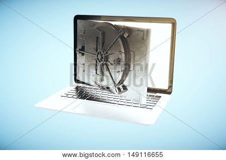 Online banking concept with open bank vault door instead of laptop computer screen on blue background. 3D Rendering
