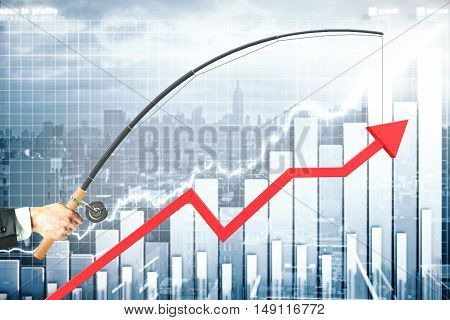 Upward chart arrow suspended on fishing rod. City and graph bars in the background. Business management concept. 3D Rendering