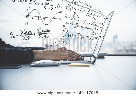 Side view of male hands using laptop with abstract mathematical formulas. Online education concept