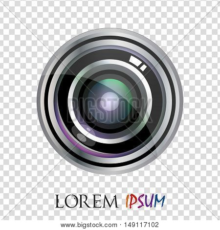 Modern Vector Realistic Flat Lens Logo Design Isolated. Vector Illustration