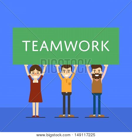 Group of smiling people holding big banner over head. Teamwork banner, isolated vector illustration on blue background. People communication concept. Team work for great result.
