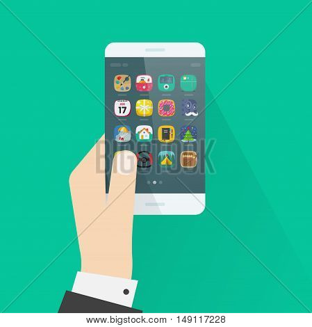 Hand holding smartphone vector illustration isolated on colorful background, flat cartoon style man hand with mobile phone