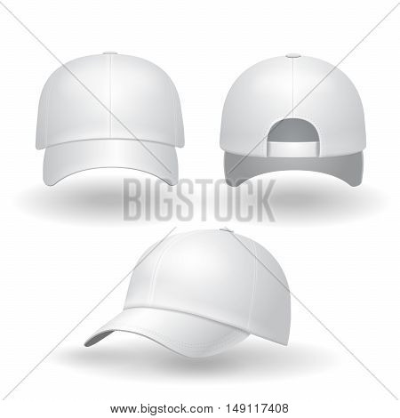 Realistic white baseball cap set. Back front and side view isolated on white background vector illustration