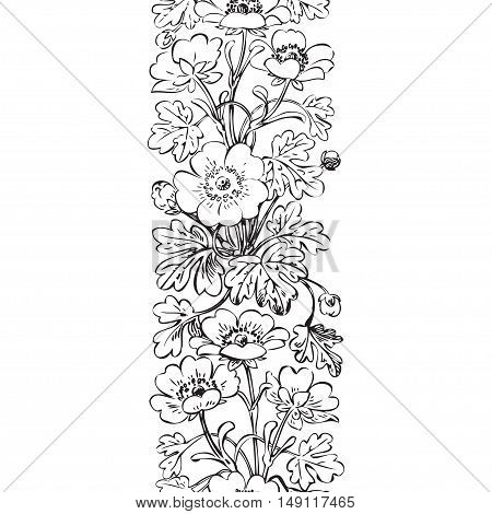 Floral bush retro black on white background vector seamless hand drawn decorative flower vintage contour closeup branch with flowers and buds print design