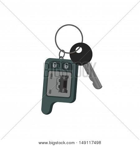 Car keys isolated on white background, keys from auto flat cartoon style