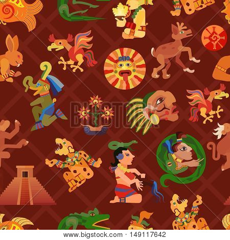 Maya seamless pattern with culture and people symbols flat vector illustration