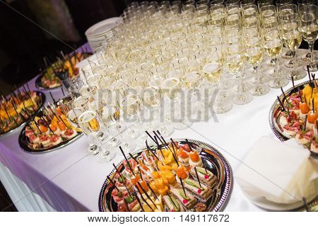 Inside of the wine catering for guests of the event