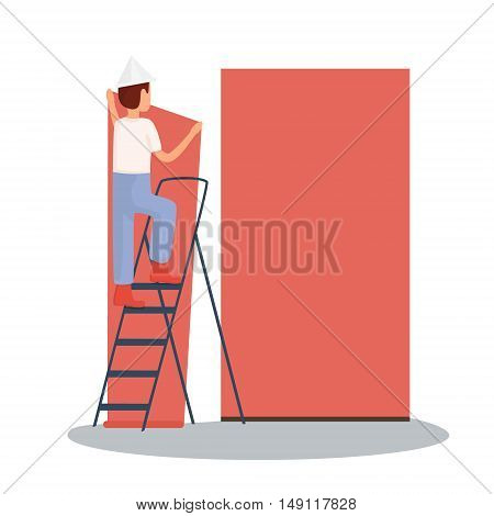 The builder makes repairs. repair sticky wallpaper. Vector illustration