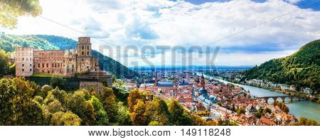 Panoramic view of beautiful medieval town Heidelberg, Germany