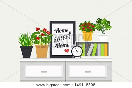 Sweet Home modern interior design poster with houseplants and alarm clock on bookshelves flat vector illustration