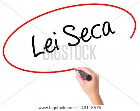 Women Hand Writing Lei Seca (prohibition Alcohol Law N Portuguese) With Black Marker On Visual Scree
