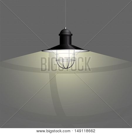 Ancient bronze lamp hanging on the wire. Big and empty space illuminated on the dark wall. Vector illustration of lighting.